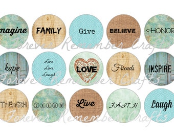 INSTANT DOWNLOAD Inspirational Sayings Bottle Cap Image Sheets 1 inch *Digital Image* 4x6 Sheet With 15 Images