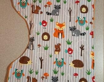 Forest Friends Contoured Minky  Burp Cloth /  Baby Boy Girl Shower Gift / Woodland Creatures Owl Fox Hedgehog Raccoon / Orange Grey