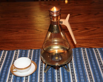 Vintage Retro Glass Coffee Carafe with top and candle warmer