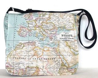 """Retro Old Map Print Cross Body Travel Bag Messenger Bag Shoulder Bag Work Bag 13"""" Laptop Bag Showerproof Messenger Bag"""