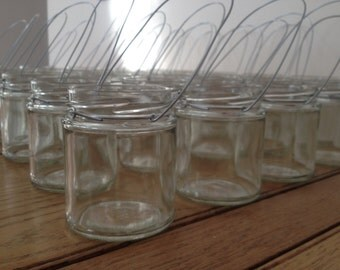Shabby chic glass mason jar hanging tea light candle holder lantern, ideal for weddings & parties.