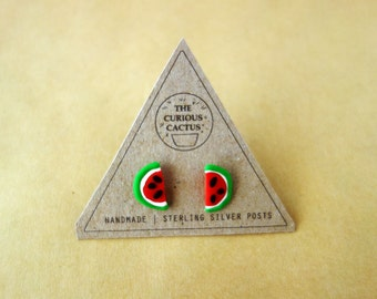Watermelons - Polymer Clay Sterling Silver Earrings