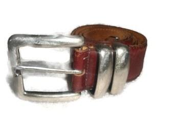 vintage 1990's RITZ Brown Rustic leather silvertone indie boho belt women size 30