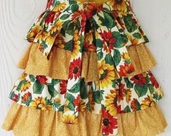 Sunflower Half Apron, Ruffled Half Apron, Floral Waist Apron, Ruffles, Cute Apron, KitschNStyle