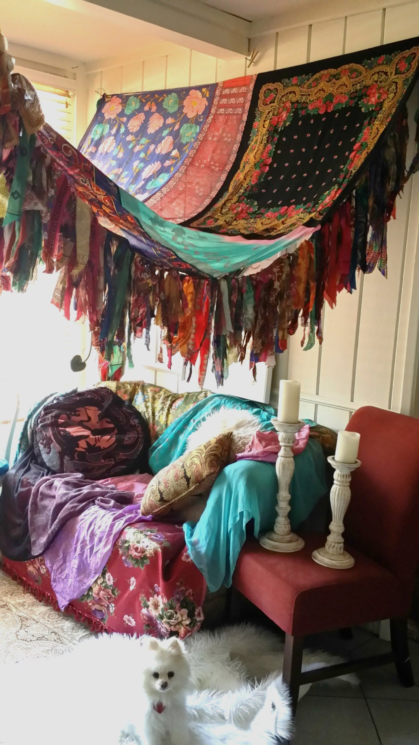 boho bedroom patio canopy bohemian hippy vtg bed by hippiewild. Black Bedroom Furniture Sets. Home Design Ideas