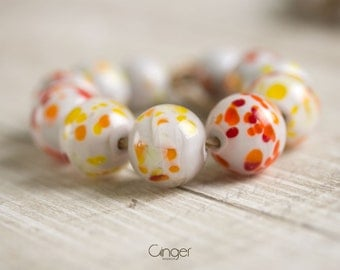 Lampwork glass beads, white red, beige, orange beads, artisan beads, sra beads, set, dots, dotted, for necklace