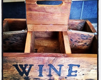 Wine Carrier Rustic Reclaimed Wood