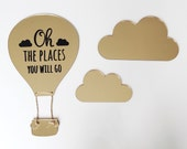 Oh the places you will go wall art, hot air balloon with clouds, nursery wall decor, gold wall art for nursery, hot air balloon and clouds