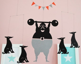 Dogs & Strongman Hanging Mobile