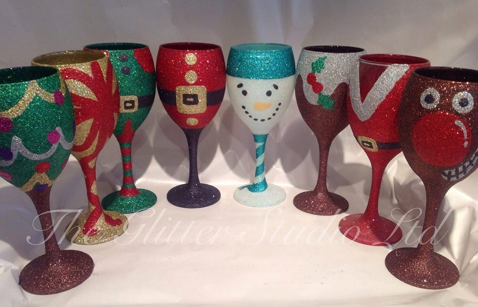 Christmas glitter wine glass How to make wine glasses sparkle