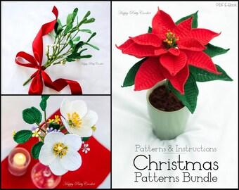 Christmas Crochet PATTERN BUNDLE - Crochet Christmas Patterns - Crochet Poinsettia Pattern - Crochet Rose Pattern - Mistletoe Pattern