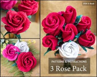 Crochet Pattern Bundle - Crochet Rose Pattern for Bouquet & Arrangement  - Crochet  Flower Pattern - Romantic Flowers
