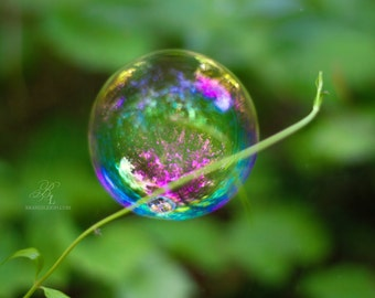 Bubbles Print, Beautiful Art, Bubble photography, Rainbow print, nature photography, whimsical art, gifts, home decor, wall decor,