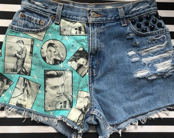 Elvis High Waisted Denim Cut Off Shorts Vintage Elvis Presley 1950's