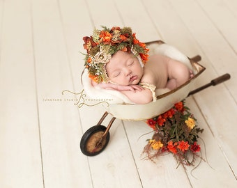 5 Acre Floral Fancy newborn **SALE** flower bonnet photography prop,shipping included,made to order,custom