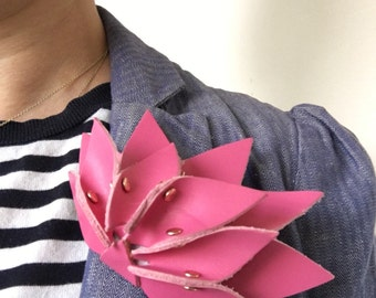 Handmade contemporary leather flower brooch