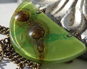 Apple Gree with Brown and Turquoise details half moon fused glass pendant