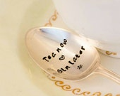 Tea Now Gin Later-  Hand Stamped Engraved Spoon - Vintage Teaspoon - Gin Gift