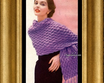 Vintage Stole knitting pattern in PDF instant download version