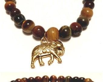 "Men's bracelet, mixed gold tiger eye, semi-precious with ""good luck"" elephant charm."
