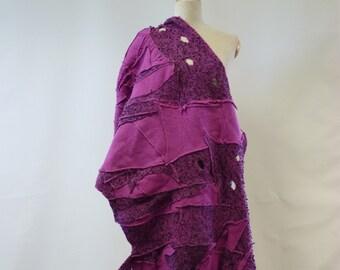 Amazing fuchsia colour felted long shawl. Only one sample.