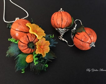 Halloween Jewelry, Pumpkin Jewerly, Costume Jewelry, Halloween Costume, Pumpkin Necklace, Halloween Earrings,  Pumpkin Earrings