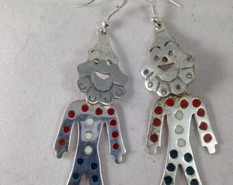 Vintage earrings. Vintage clown earrings. Clown hearings. Clown jewelry. Dangle earrings. Sterling silver earrings. Vintage sterling silver