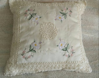 Hand embroidered crocheted edge throw pillow shabby chic cottage chic  romantic home decor toss pillow with pink accents.