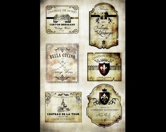 "Wine Labels Collage Papers - 10 1/2"" x 16"" - CLPR0005 - by StudioR12"