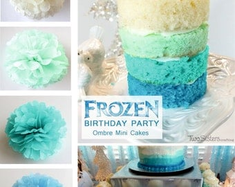 Tissue Paper Flowers set of 10 - Hanging Flowers - Paper Pom Poms - Paper Balls - Frozen party - Birthday decorations - Mint Ombre Blue