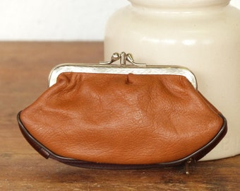 French brown coin purse - money clip - french wallet - camel wallet - 60's - 70's -