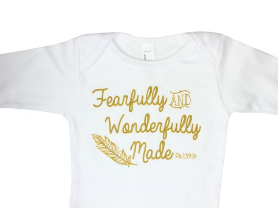 Fearfully And Wonderfully Made Gold Sparkle Bodysuit Scripture Inspired Baby Bodysuit Onepeice Psalms 139:14 Bodysuit Baby Outfit