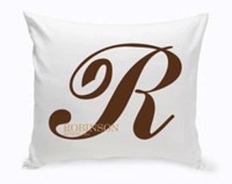 Personalized Calligraphy Monogram Throw Pillow gc 1386