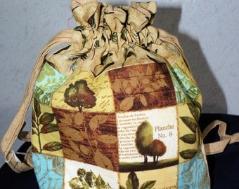 Botanical Print Drawstring Bag