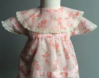 Vintage Baby Girl Dress, Vintage Printed Dotted Swiss Dress