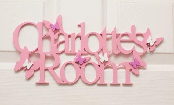 PINK Stars Door Sign Bedroom Nursery Baby   Girls Children Plaque Wooden  Hearts Butterfly Personalised Gift UK Seller Handmade. Door Plaques Uk   Create Your Own Door Sign  sc  1 th  130