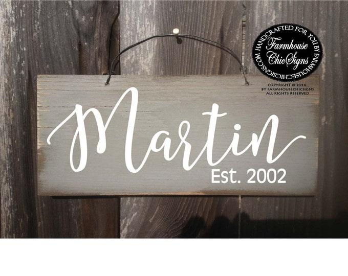 custom name sign, established sign, last name sign, family name sign, family established sign, family name established sign, custom sign