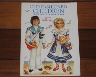 1989 Old-Fashioned Children Paper Doll Book by Evelyn Gathings (Uncut)