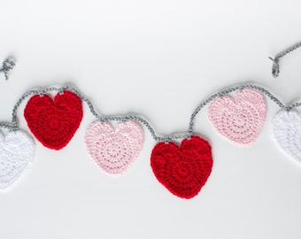 Crocheted Heart Garland, Valentine's Day, Red, Pink and White