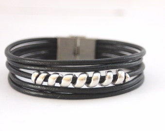 Men's Bracelet black leather and silver spiral stainless steel clasp - men leather cuff - black leather bracelet - multi row bracelet