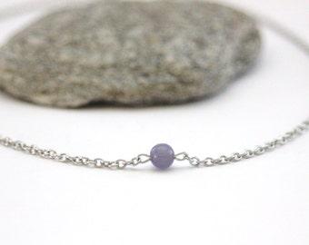 "Minimalist stainless steel necklace pearl ""cat's eye"" purple - purple gemstone necklace - silver necklace - steel necklace"