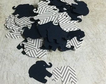 Navy Blue and Gray Chevron Elephant Confetti for Baby Shower, Elephant Theme Party, Card Making, Scrapbooking
