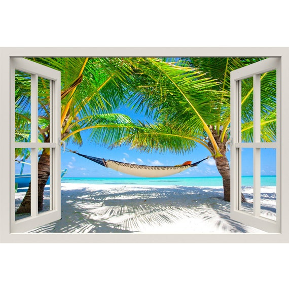 Window frame mural relaxed beach huge size peel and stick for Beach window mural