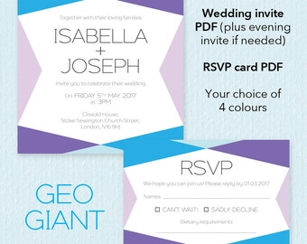 Printable wedding stationery - Invite and RSVP - Geo giant design