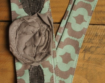 Callie- Fabric Flower Head Wrap/Fabric tie headband/Adult Flower Headbands/Rosette Fabric Headband/Flower Headwraps