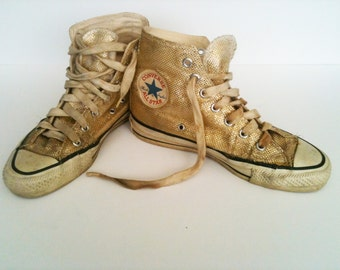 Converse/All Star, Vintage, 1970's, Gold Metallic Hi Top Sneakers