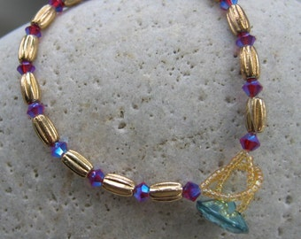 Gold Bead, Purple Swarovski Crystal Bracelet  - Turquoise Crystal Button Fastener, OOAK Valentine's Day