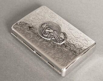 Mucha Cigarette Case Art Nouveau Cigarette Case Mucha Poetry Business Card Case Cigarette Case Antique Brass Mucha Poetry Steampunk Style