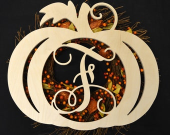 Wooden Pumpkin Monogram Door Hanger, For Fall, Thanksgiving, Halloween, Autumn