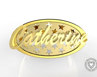 Personalized jewelry - Ring with personalized name in gold or silver; personalized ring.